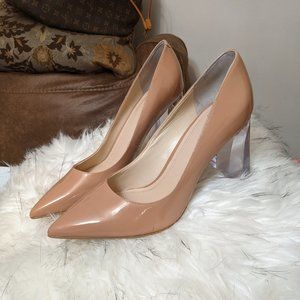 MARC FISHER TAUPE GLASS HIGH HEELS